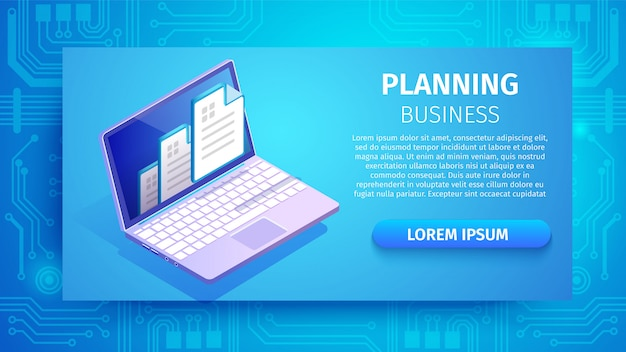 Planning business horizontal banner with laptop