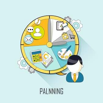 Planning concept: businessman with a timetable in line style