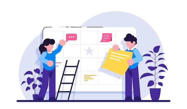 계획 개념 기업가 정신 및 일정 일정 계획