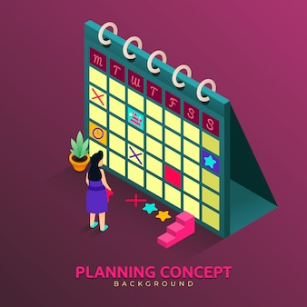 Planning concept in isometric style