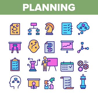 Planning elements icons set