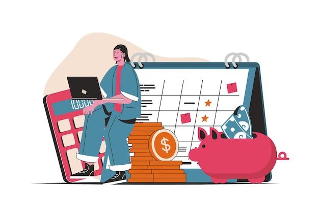 計画財務予算の概念が分離されました。財務会計と管理。フラットな漫画のデザインの人々のシーン。ブログ、ウェブサイト、モバイルアプリ、販促資料のベクターイラスト。