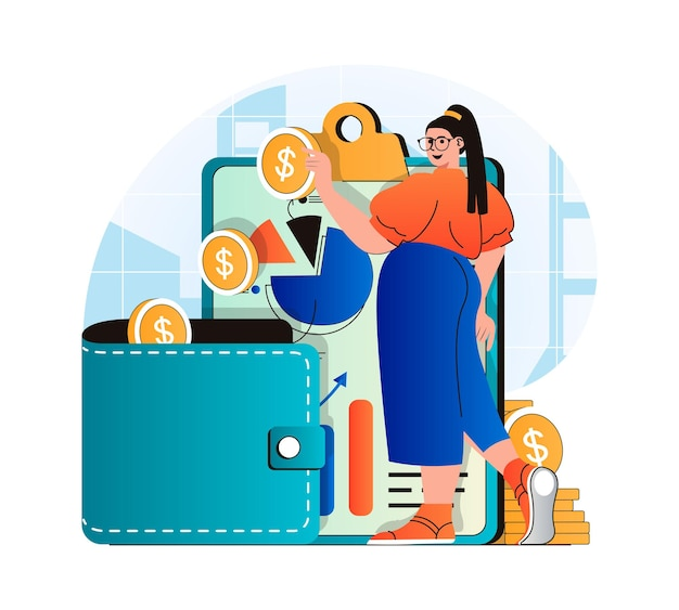 Planning financial budget concept in modern flat design woman analyzes financial statistics
