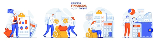 Planning financial budget concept set online banking accounting and savings