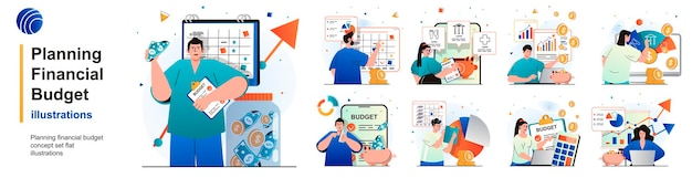 Planning financial budget isolated set accounting analysis and savings of scenes in flat design