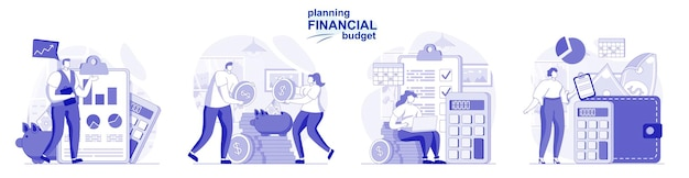 Planning financial budget isolated set in flat design people make accounting analysis
