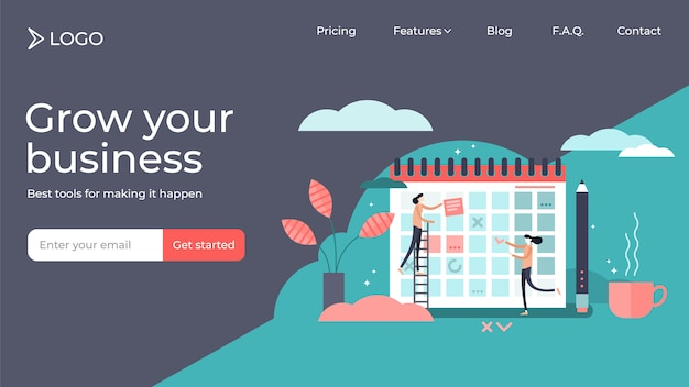 Planning flat tiny persons vector illustration landing page template design