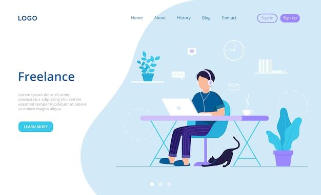 Планирование, концепция внештатной работы. мужской персонаж работает в интернете с ноутбуком дома утром. внештатный работник, использующий компьютер, наушники, интернет. плоский стиль в холодных тонах.