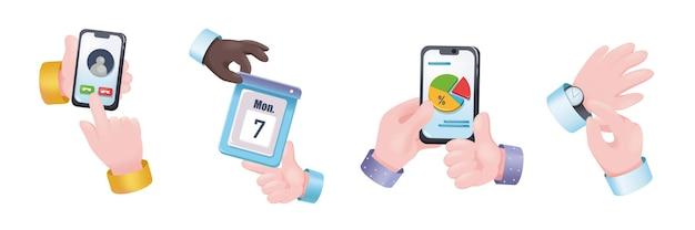 Набор руки графической концепции планирования. человеческие руки держат мобильный телефон и совершают звонки, события в календаре, анализируют данные, часы, тайм-менеджмент. векторная иллюстрация с 3d реалистичными объектами