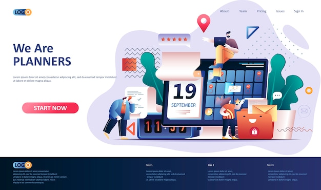 Planning  landing page template  illustration