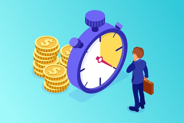 Planning and management with stopwatch and money illustration