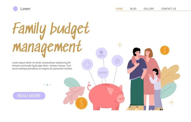 予算家族の計画。子供がいる若い世帯は、収入と支出を数え、お金を節約するために家計を管理します。ベクトルイラスト。ランディングページテンプレート。