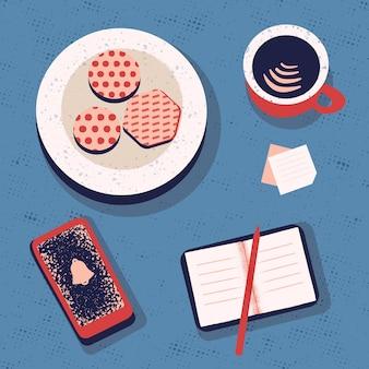 Planning and organization concept coffee break..