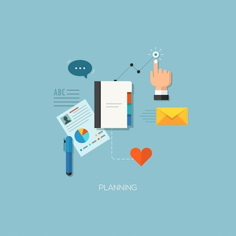 Planning process flat web infographic technology concept