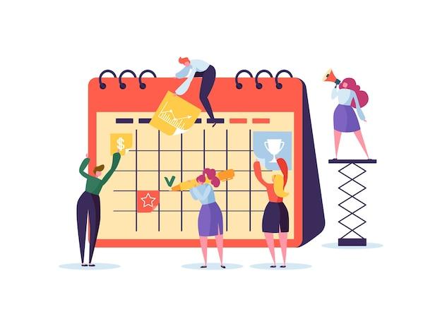 Plannerを使用したビジネスキャラクターによる計画スケジュールの概念。チームは一緒に働きます。時刻表とチームワークするフラットな人々。