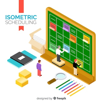 Planning schedule concept with isometric perspective
