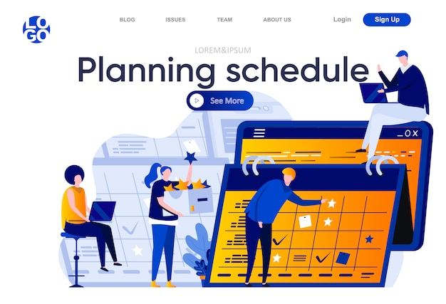 Planning schedule flat landing page. business team planning and organizing work activities and tasks illustration. time management and efficiency web page composition with people characters
