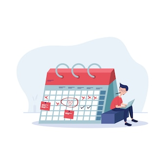 Planning schedule illustration with character