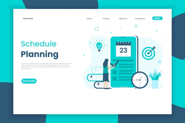 Planning schedule landing page template