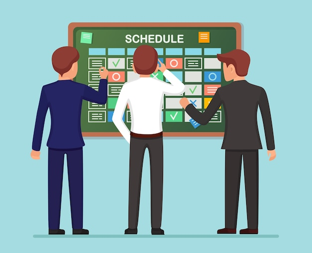 タスクボードコンセプトの計画スケジュール。プランナー、ホワイトボード上のカレンダー。社員向けイベント一覧。チームワーク、コラボレーション、ビジネス時間管理の概念。フラットデザイン