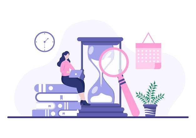 Планирование расписания или управления временем с помощью календаря. деловые встречи, мероприятия и мероприятия. организация рабочего процесса. фон векторные иллюстрации