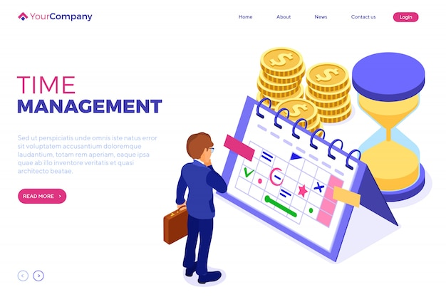 Planning schedule time management businessman planning work from home with hourglass picks goals on schedule calendar deadline time isometric infographics business isolated