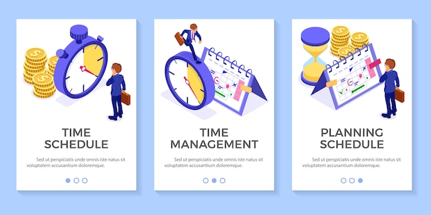 Planning schedule time management businessman planning work from home with hourglass stopwatch picks goals on schedule calendar