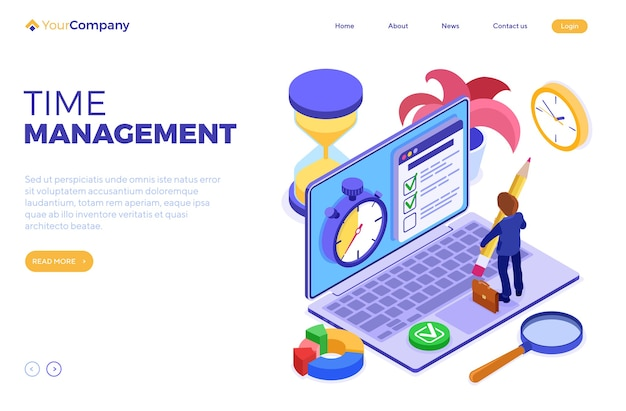 Planning schedule time management businessman planning work from home with stopwatch picks goals checklist on laptop deadline time isometric infographics business isolated