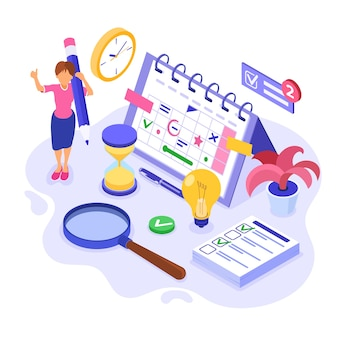 Planning schedule and time management isometric illustration