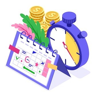 Planning schedule time management planning education from home with stopwatch picks goals on schedule calendar deadline time isometric infographics business isolated