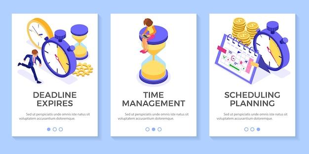 ストップウォッチ時計と砂時計のビジネスマンがスケジュールカレンダーのビジネスインフォグラフィックで目標を選択する前にすべてをキャッチしようとするスケジュール時間管理の計画