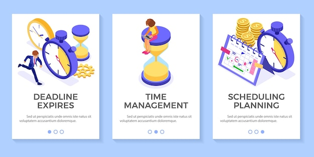 Planning schedule time management with stopwatch clock and hourglass businessman trying catch everything before deadline picks goals on schedule calendar business infographics isolated