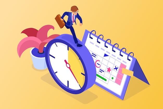 Планирование расписания управления временем с календарем расписания секундомера и бизнесменом