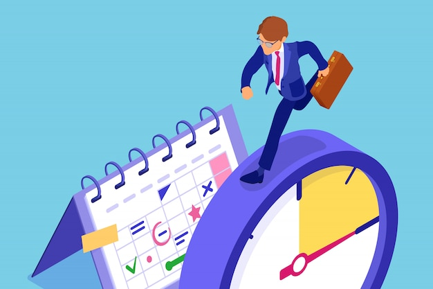Planning schedule time management with stopwatch schedule calendar and businessman with briefcase in hurry before deadline time isometric infographics business isolated
