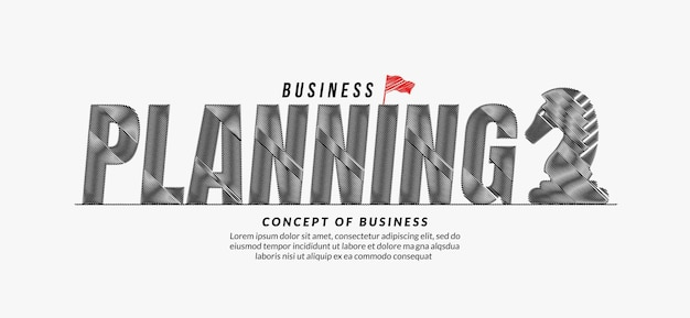 Planning scribble text design background business target lettering typography concept