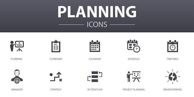 Набор иконок простой концепции планирования. содержит такие значки, как календарь, расписание, расписание, план действий и многое другое, может использоваться для интернета, логотипа, пользовательского интерфейса / пользовательского интерфейса.