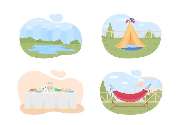 여름 휴가 계획 2d 웹 배너, 포스터 세트