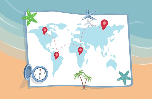 Planning summer vacation journey vector flat illustration world map with