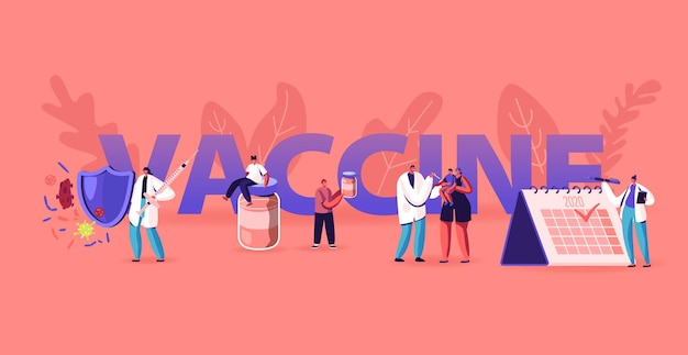 Планирование применения вакцины. мультфильм плоский иллюстрация