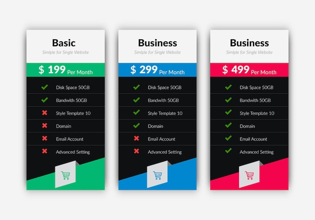 Plans and pricing comparison table template for website