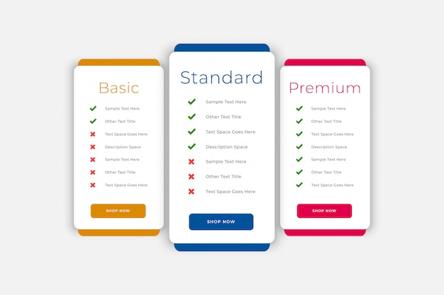 Plans and pricing table business web template