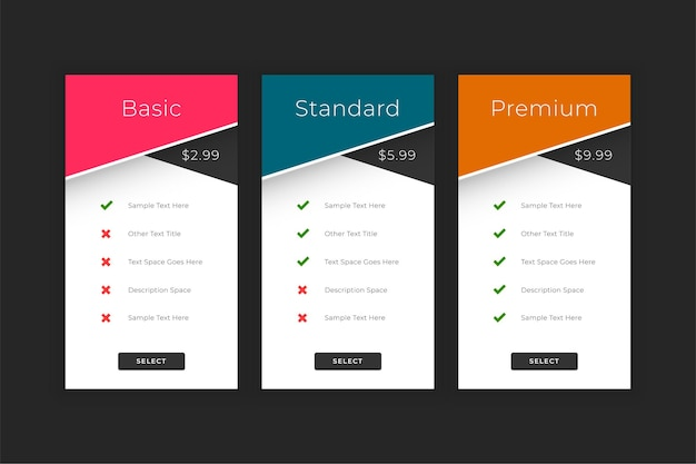 Plans and pricing web interface template