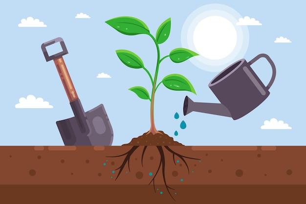 땅에 묘목을 심는다. 원예 도구.