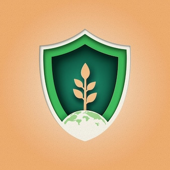 식물 및 환경 보호 방패 로고 design.nature 및 생태 보존 개념. 종이 잘라.