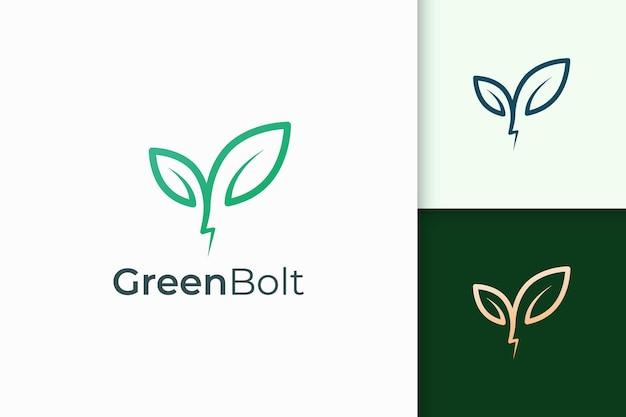 심플하고 모던한 형태의 식물과 번개 로고