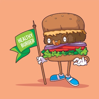Plant based burger with happy face cartoon illustration style