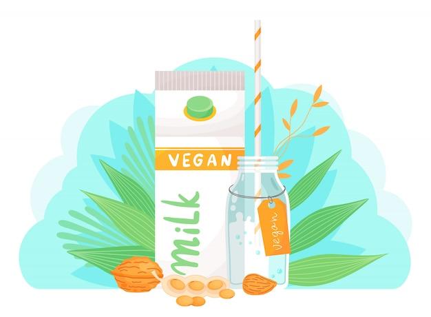 Plant-based vegan almond milk. healthy alternative to lactose milk, environmentally friendly product