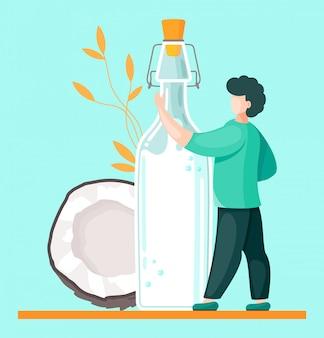 Веганское кокосовое молоко на растительной основе. здоровая альтернатива лактозному молоку экологически чистый продукт