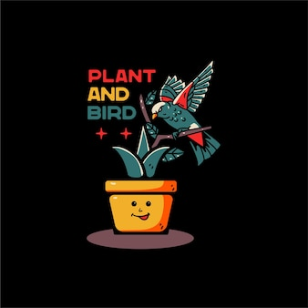 Plant and bird with balloon illustration hand drawn, for tshirt