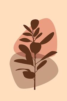 植物の自由奔放に生きるパターンの背景現代的な壁の装飾のためのミニマリストの抽象的な植物のイラスト